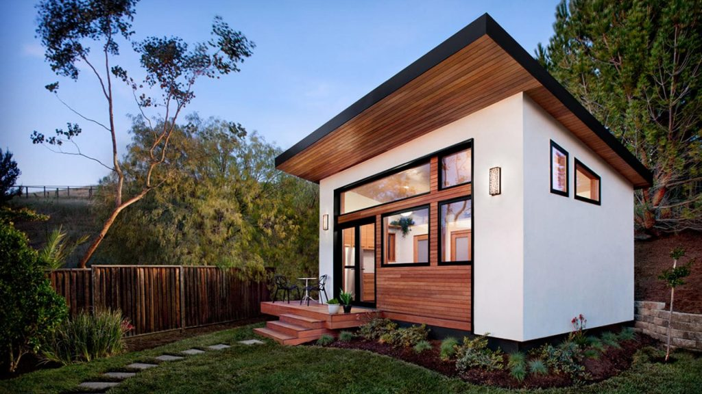 Beautiful and luxurious accessory dwelling unit (ADU) in the backyard. ADUs are also called granny flat, in-law unit, or other supplementary residence.