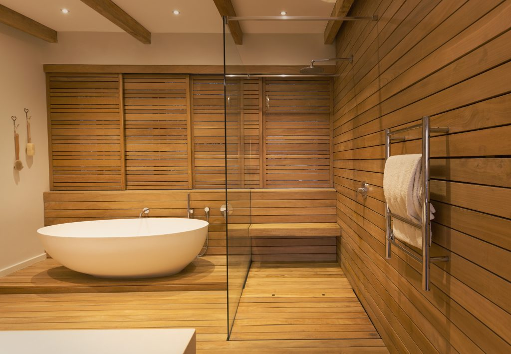 Wood (or Faux Wood) shower floors