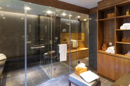 Bathroom sauna. Interior of a modern sauna room.
