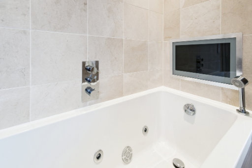 Bathroom tv. Bath tub with tv. , Bathroom technology.