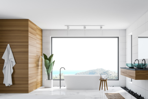 Bathroom view. White and wooden panoramic bathroom.